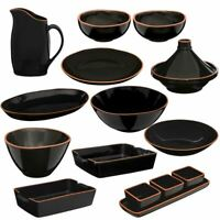 Calisto Black Glazed Terracotta Kitchen Accessory Set Pitcher/Tagine/Bowl/Dishes