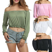 Women Off Shoulder Top Long Sleeve Pullover Casual Blouse Summer T Shirt 50w