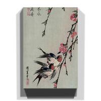 Canvas Print Various Size Hiroshige Japanese Oriental Moon Swalls Peach Blossoms