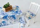 Rural Style Home Decoration Blue Flower 140cm X 180cm Cotton Table Cover