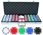 500 pc ct 11.5g Double Suited Poker Clay Chips Set Casino w/ Aluminum Case NEW