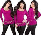 KOUCLA pullover maglione lungo vestito di maglia strass zip Cutout felpa fucsia
