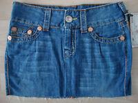 TRUE RELIGION Jeans MONIKA BIG T Skirt Damen Rock Blau Gr.26 NEU mit ETIKETT