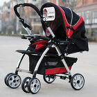 S001 New 1 Baby Red+Black Fabric Collapsible Comfortable 4 Wheels Strollers