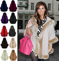 Ladies Womens Faux Fur Trim Hooded Poncho Coat Shawl Cape Lot Top Wrap UK 8-16