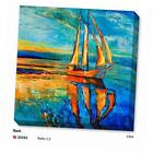 original modern abstract hand painted landscape wall art boat oil painting on