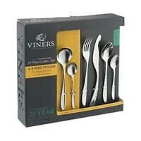 Viners Organic 18/0 Stainless Steel 16 Piece Cutlery Set with 4 Free Soup Spoons