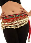 "RED-Gold Coins-""BELLY DANCE""DANCEWEAR SKIRT-Size 8-10"