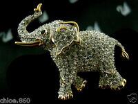 SIGNED SWAROVSKI PAVE' CRYSTAL ELEPHANT PIN ~ BROOCH RETIRED RARE NEW