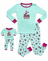 Leveret Owl Girls Matching Doll & Kid 2 Piece Pajama 100% Cotton (2-14 Y)