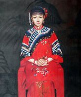 "Chinese oil painting lady girl beauty 20x24"" canvas Repro contemporary Asian art"