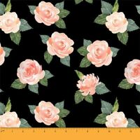 Soimoi Fabric Leaves & Faith Rose Floral Print Craft Fabric by the Yard -FL-668A