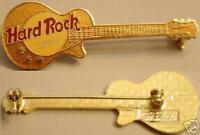 Hard Rock Cafe NO CITY NAME Metallic GOLD Les Paul Guitar STAFF PIN - HRC #3365
