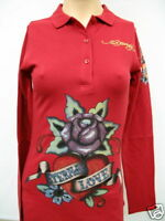 ED HARDY ORIGINAL ETERNAL LOVE POLO SHIRT LS RED SMALL    Retail $69.95