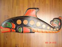 "LARGE ""KILLER WHALE & HAWK MAN"" Authentic Northwest Coast Native Art Hand Carved"