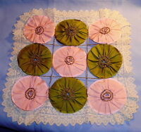 Antique Pink and Green Silk with Lace yoyo DOLL QUILT
