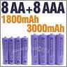 8 AAA 8 AA 1800 3000 mAh rechargeable battery Purple