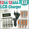 12 AA 12 AAA 1350 3000 mAh Ultra + Quick LCD Rechargeable battery charger EU
