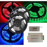 10M 5050 RGB SMD Flexible Non-Waterproof 60Leds/M LED Strip+4 Key RF+ Adapter