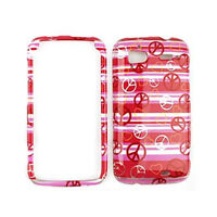 Phone Cover For HTC Sensation 4G Peace Signs & Hearts On Pink Stripes Hard Case