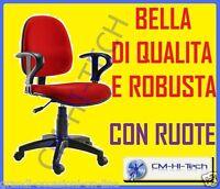 SEDIA ROSSA RED POLTRONA PC COMPUTER CON RUOTE BRACCIOLI PER UFFICIO STUDIO CASA