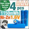 4 pcs 1150mWh AAA NiZn 1.6V Volt Rechargeable Battery 3A LR03 HR03 Blue