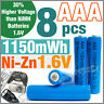 8 pcs 1150mWh AAA NiZn 1.6V Volt Rechargeable Battery 3A LR03 HR03 Blue