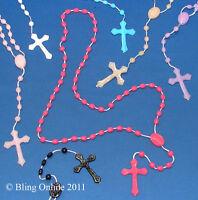 LONG PLASTIC BEAD ROSARY NECKLACE CROSS CRUCIFIX JESUS CHRISTIAN PRAYER ROSERIES