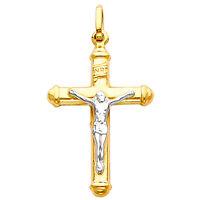 14K Yellow 2 Two Tone Gold Jesus Crucifix Cross Hollow Religious Charm Pendant