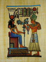 "ORIGINAL HAND PAINTED PAPYRUS 8""x12"" (20x30cm)  RAMSES OFFERING FLOWERS PHARAOH"