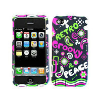 For Apple iPhone 4 4S Phone Case Retro Peace & Groovy Faceplate Hard Cover