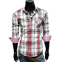 TheLees NWT Mens casual unique Plaid check slim fit Dress Shirts Collection