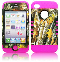For Apple iPhone 4 4S Hard Cover Hunter Leaves Camo On Pink Soft Case 2 in 1
