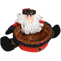 """6.5"""" Christmas Santa Claus Candy Sweet Wicker Basket Festive Table Decoration"""