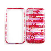 Pink Stripes & Peace Signs Cover Case For Samsung Galaxy S 4G Vibrant T959 i9000