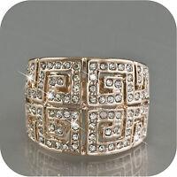 18K ROSE GOLD GP MADE WITH SWAROVSKI CRYSTAL WEDDING RING US 6.5 UK AU M 1/2