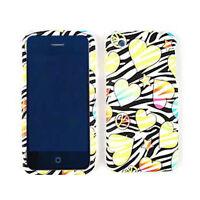 For Apple iPhone 3G 3GS Hard Cover Hearts & Stars On Black Zebra Print Skin Case