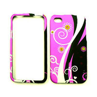 For Apple iPhone 4 4S Phone Cover White Vines On Pink & Black Hard Case Skin