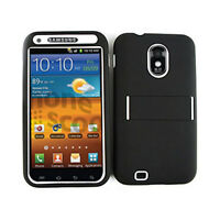 Samsung Galaxy S II Epic Touch 4G D710 Hybrid Case White Skin Black Hard Cover
