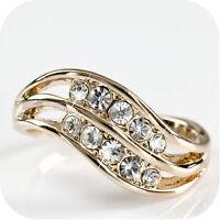 18K ROSE GOLD GP MADE WITH SWAROVSKI CRYSTAL WEDDING RING US 6 1/4 UK AU M 1/2