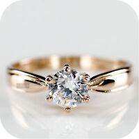18K ROSE GOLD GP MADE WITH SWAROVSKI CRYSTAL WEDDING BRIDAL RING US 5.5 AU L