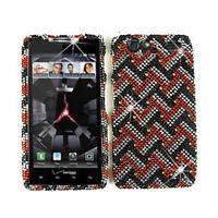 For Motorola Droid RAZR XT912 Hard Case Red White & Black Diamond Phone Cover