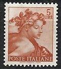 1961 ITALIA MICHELANGIOLESCA 5 LIRE MNH **