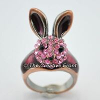 RABBIT BUNNY PINK CRYSTAL RING - Beautiful Women's Jewellery - NEW