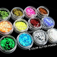 12 COLOR GLITTER POWDER DUST ACRYLIC UV GEL TIPS NAIL ART MAKEUP SALON BOX SET