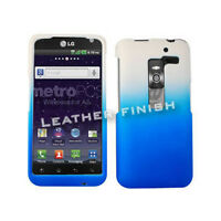 Blue & White Two Tones Protector Hard Cover For LG Esteem MS910 Snap On Case