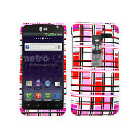Red & Light Pink Blocks Hard Case For LG Esteem MS910 Snap On Cover Faceplate