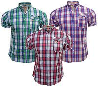 New mens Tokyo Laundry MH-28349 casual short sleeve check shirt S, M, L & XL
