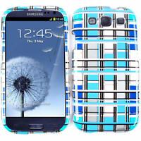 Blue White Blocks Hard Case For Samsung Galaxy S 3 III i747 Cover Skin Faceplate