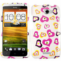Pink and Yellow Hearts White Phone Case For AT&T HTC One X Hard Cover Faceplate